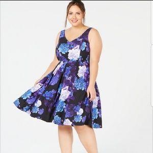City Chic Purple Blue Hydrangea Fit & Flare Dress